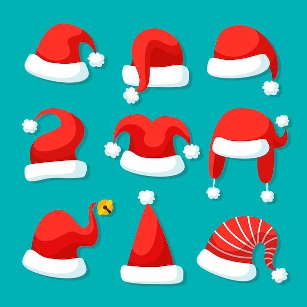 Flat design santa's hat illustration set Premium Vector
