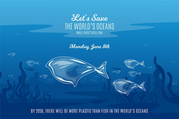 Flat design save the ocean waters Free Vector