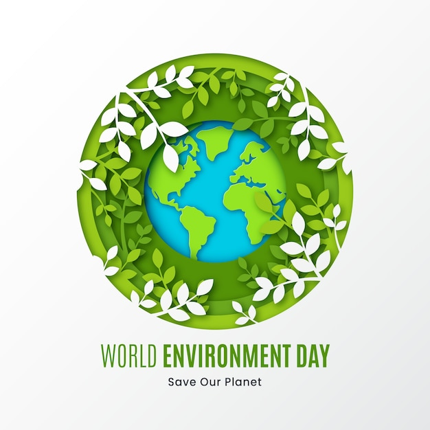 Flat design save the planet and leaves Free Vector