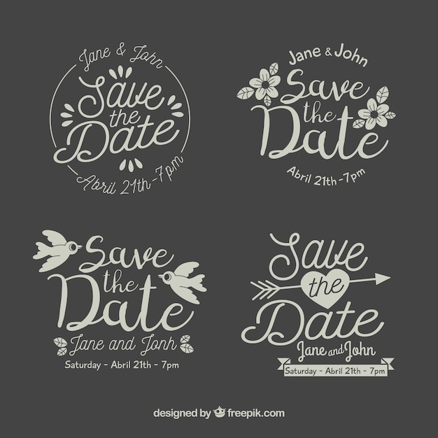 Flat design save the date label / badge collection Free Vector