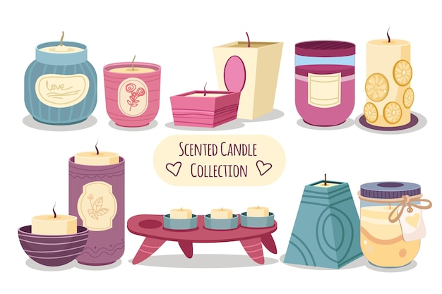 フラットデザインの香りのキャンドルコレクション 無料ベクター