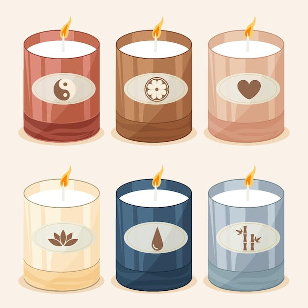 Flat design scented candle collection Free Vector