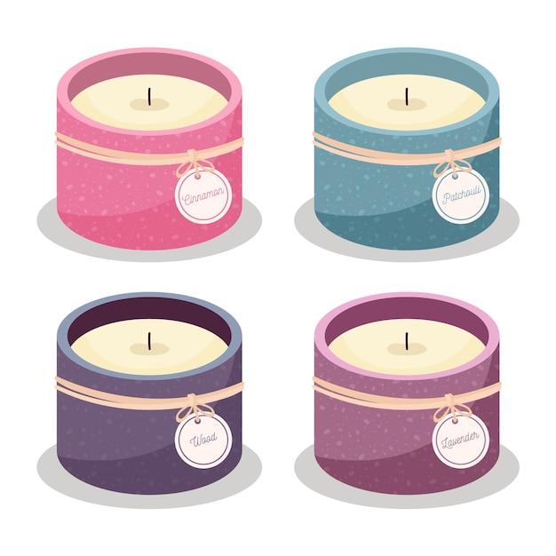 Set di candele profumate design piatto Vettore gratuito