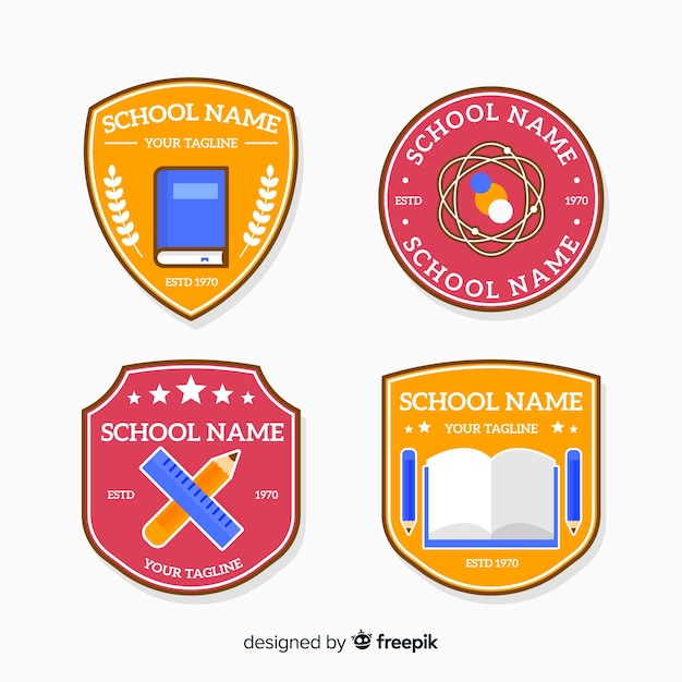 Flat design school logo collection Free Vector
