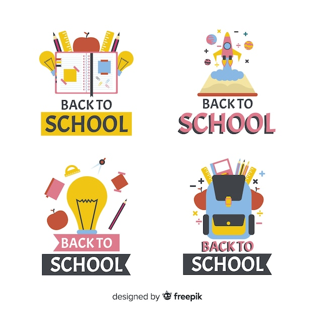 Flat design school logo collection Free Vector