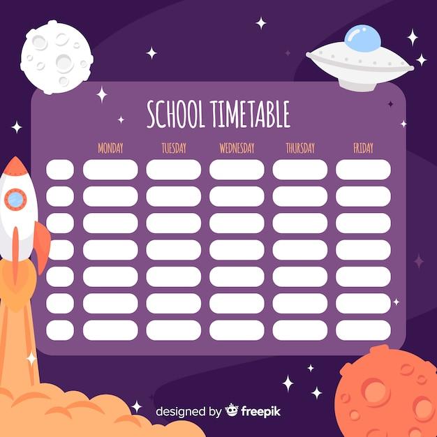 Flat design school timetable template Free Vector