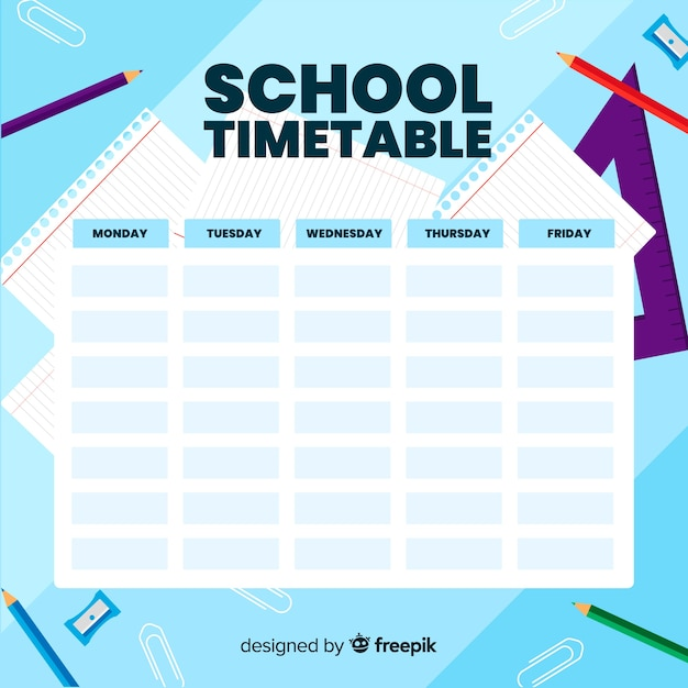 Flat design school timetable template Free Vector