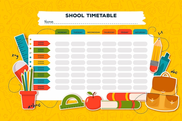 Flat design school timetable with books Free Vector