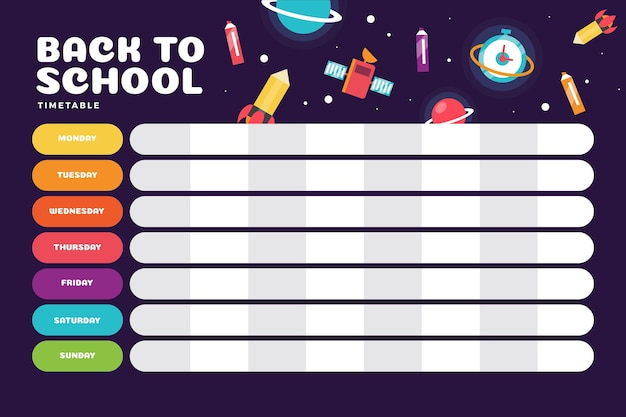 Flat design school timetable with science Free Vector