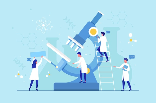 현미경으로 평평한 디자인 과학 개념 무료 벡터