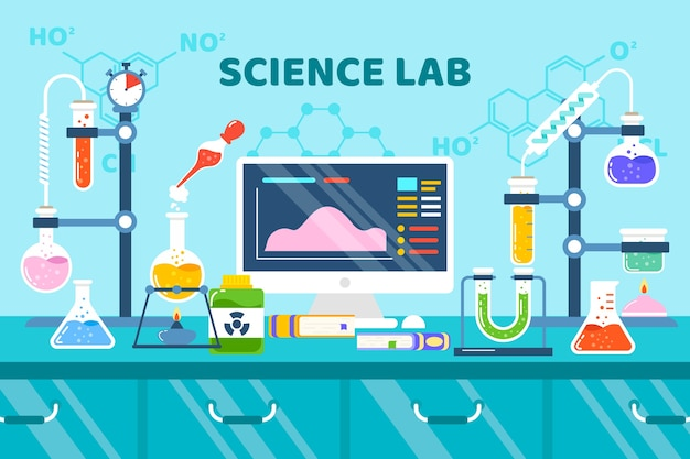 Flat design science equipment and formulas Free Vector