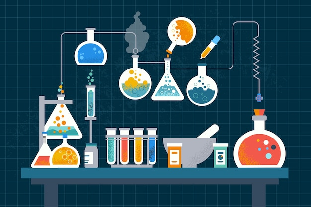 Flat design science lab concept Free Vector