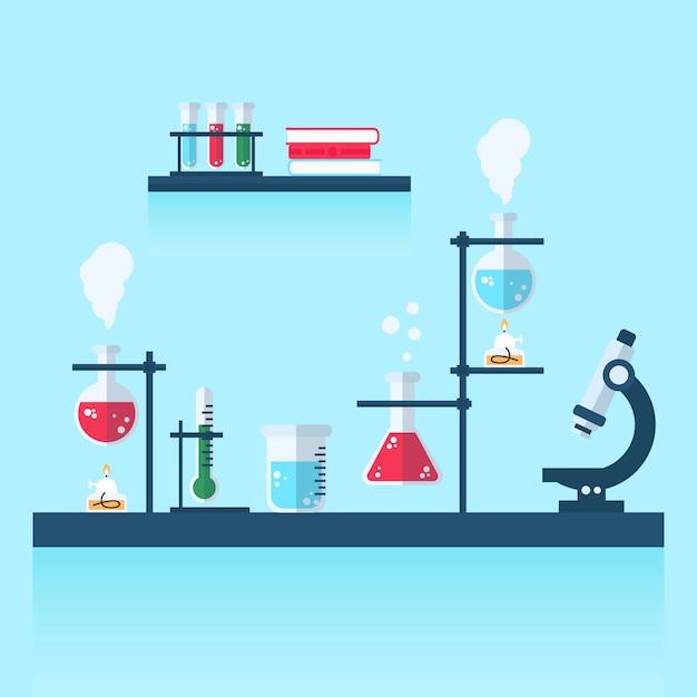 Flat design science lab illustration Free Vector
