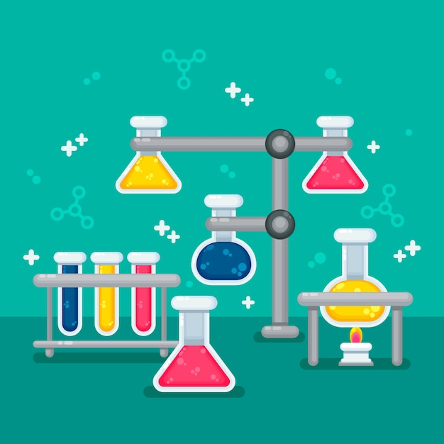 Flat design science lab stationery equipment Free Vector