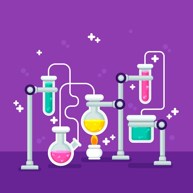 Flat design science lab stationery items Free Vector