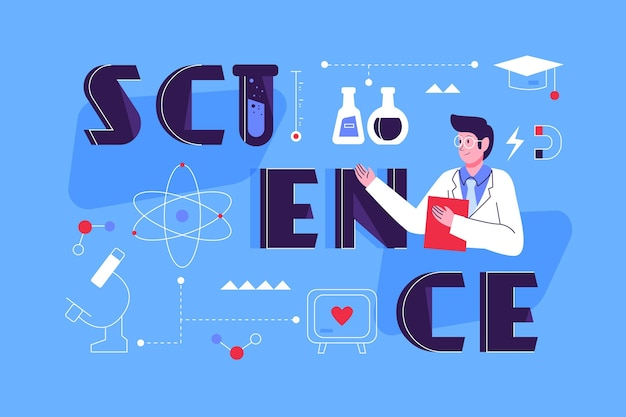 Flat design science word concept | Free Vector