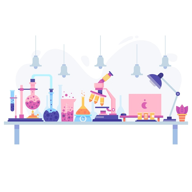 Flat design of a scientific desk with objects Free Vector