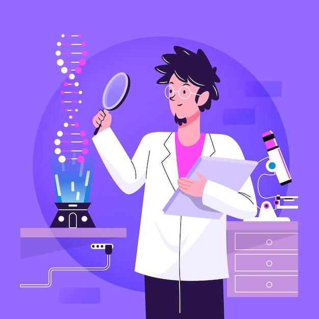 Flat design scientist holding dna molecules illustration Free Vector