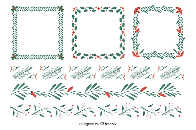 Flat design set christmas frames and borders Free Vector
