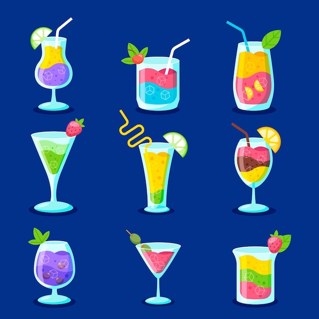 Flat design set of delicious cocktails Free Vector