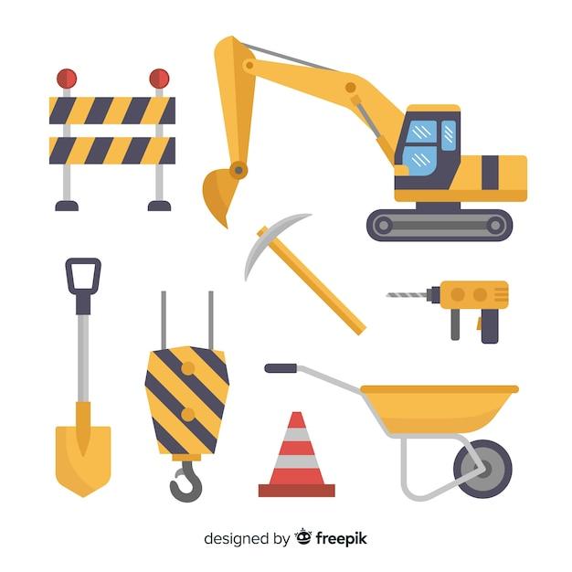 Плоский дизайн комплект строительной техники Бесплатные векторы