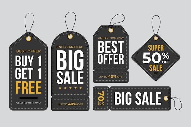 판매 태그의 평면 디자인 모음 무료 벡터