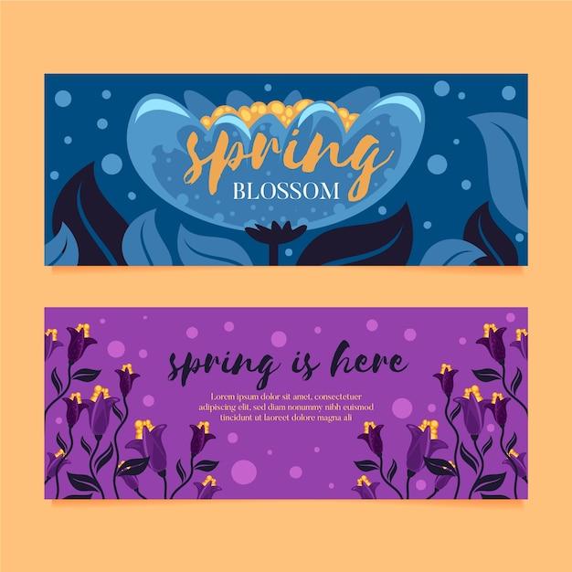 Flat design set spring sale banners Free Vector
