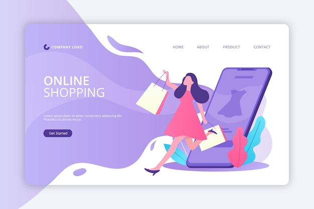Flat design shopping online landing page template Free Vector