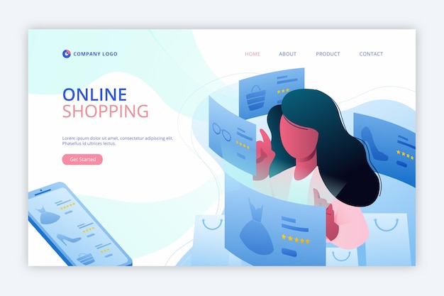 Flat design shopping online landing page Free Vector