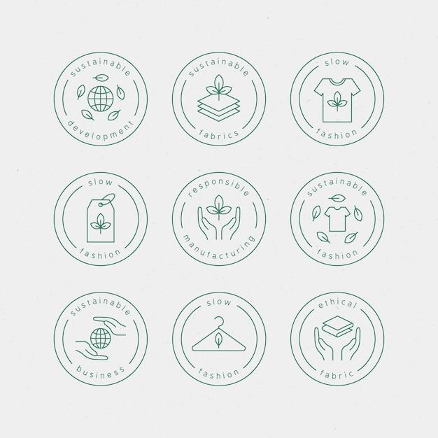Set di badge moda lenta design piatto Vettore gratuito