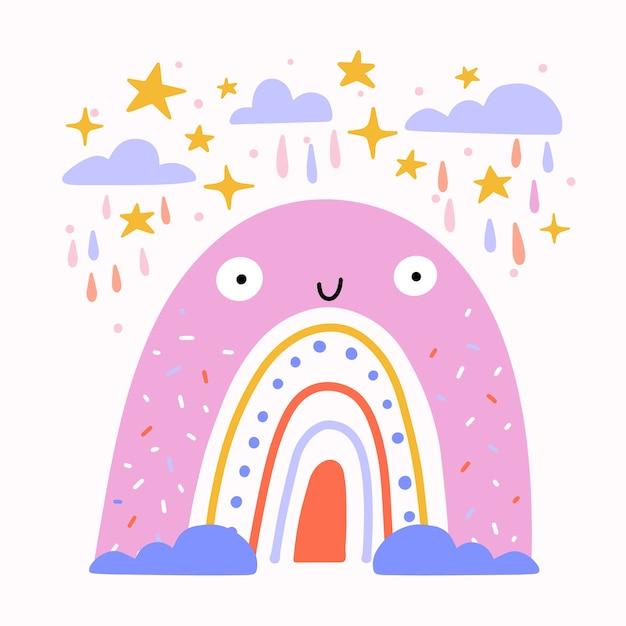 Плоский дизайн смайлик радуга иллюстрирована Бесплатные векторы