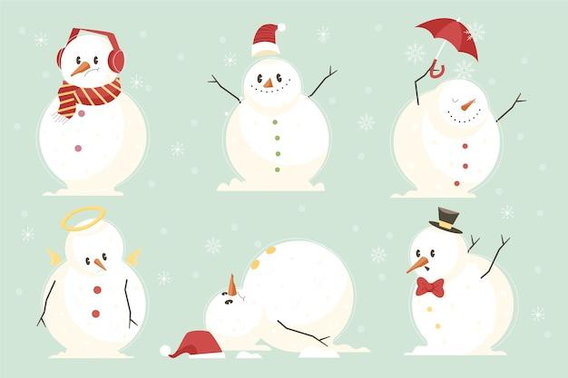 Плоский дизайн коллекции символов снеговика Бесплатные векторы