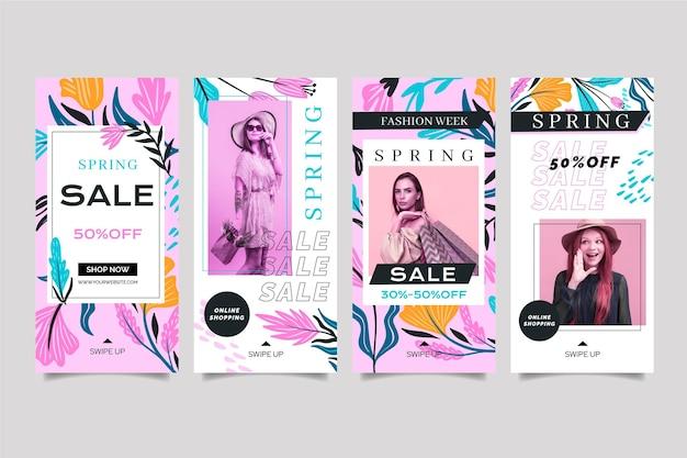 Flat designsocial media stories spring sale template Premium Vector
