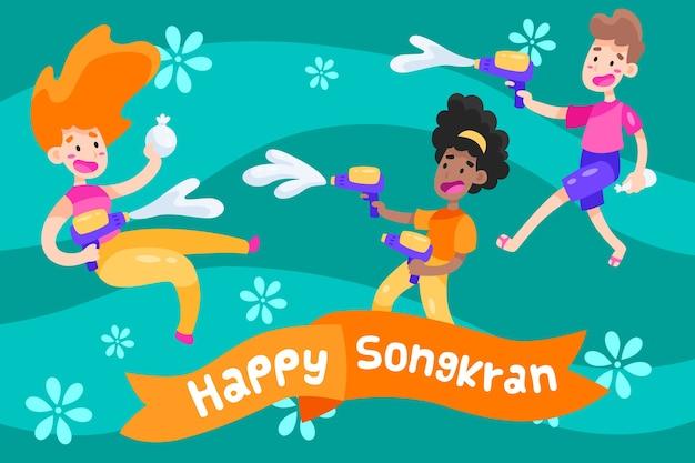 Design piatto songkran festival design Vettore gratuito