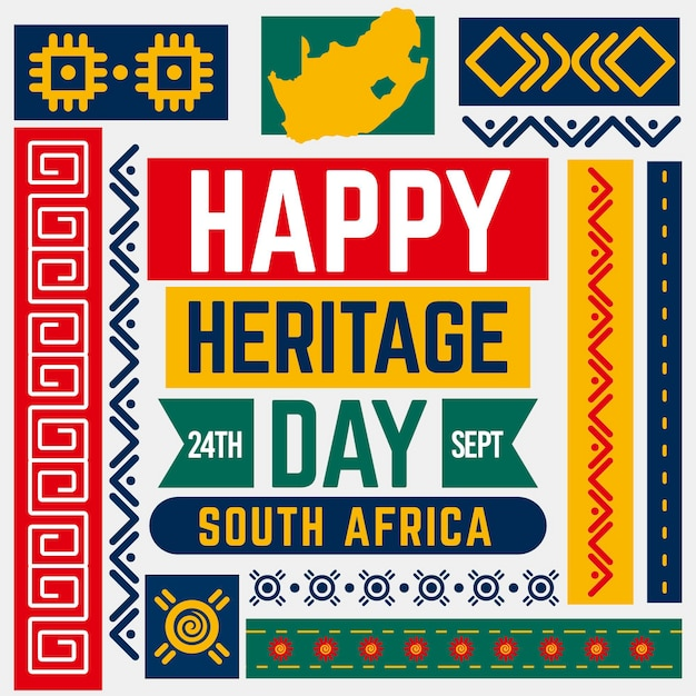 Flat design south africa heritage day concept Free Vector