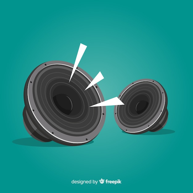 Flat design speaker for music Premium Vector