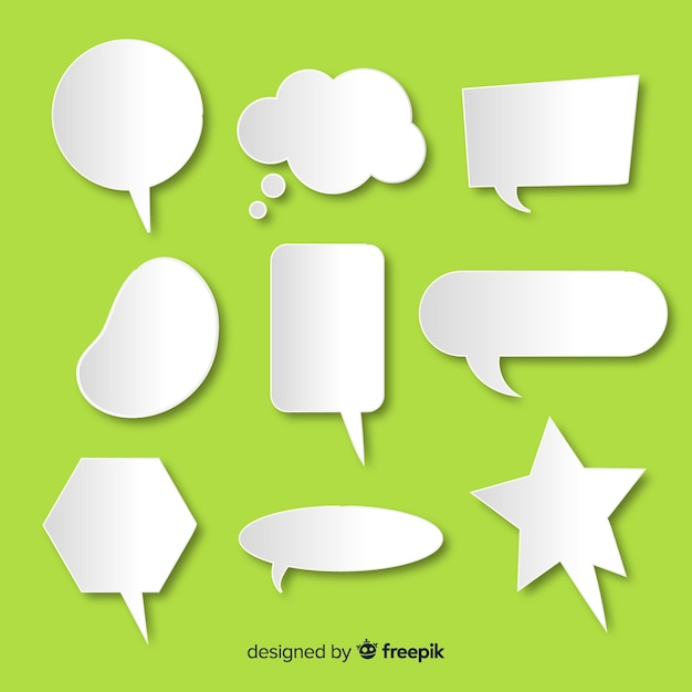 Flat design speech bubble collection in paper style Free Vector