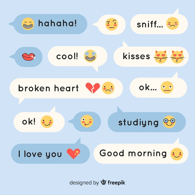 Flat design speech bubbles with emojis and expressions Free Vector