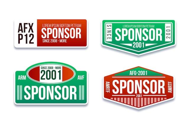 Flat design sponsor stickers set Free Vector