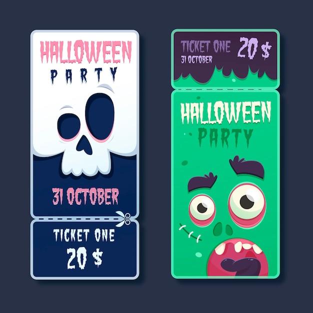 Biglietti di halloween spettrali design piatto Vettore gratuito