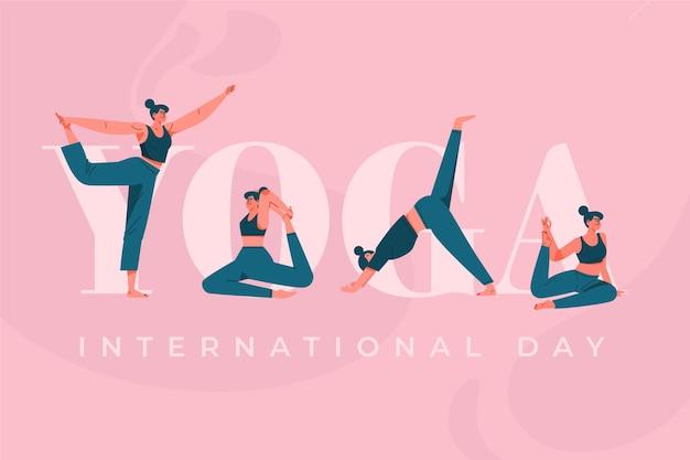 평면 디자인 스포츠 요가 국제 날 프리미엄 벡터