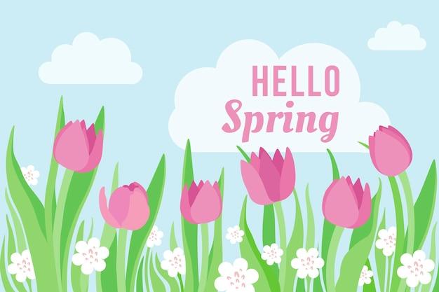 チューリップとフラットなデザイン春の背景 無料ベクター