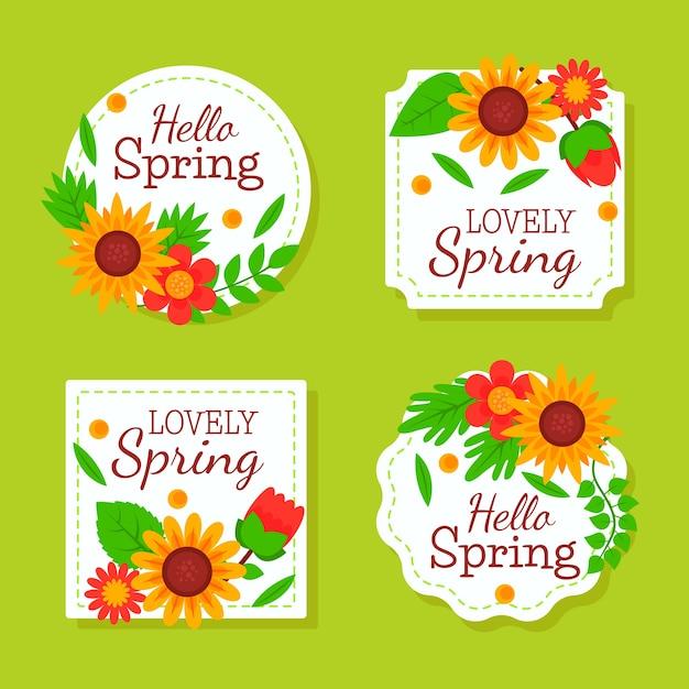 フラットなデザインの春バッジコレクション 無料ベクター