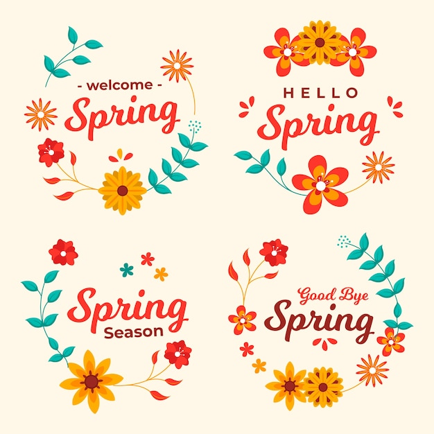 Flat design spring badge collection Free Vector