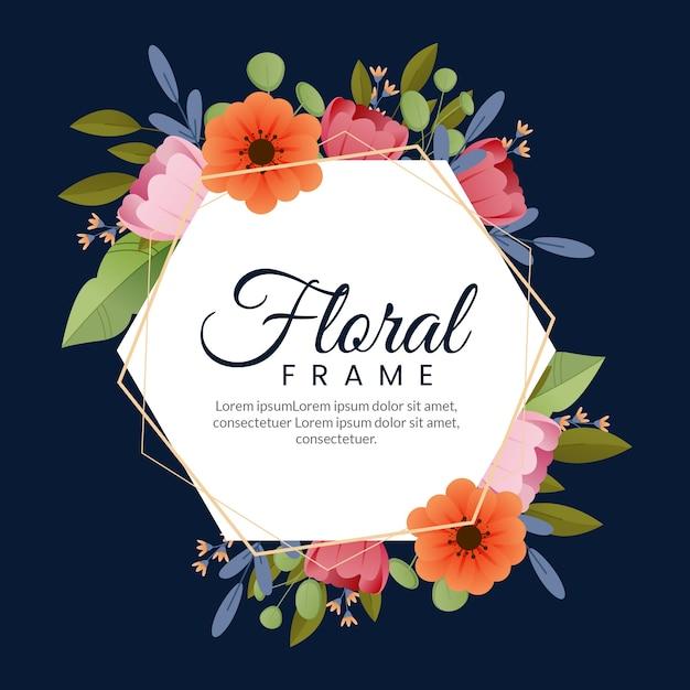 Flat design spring colourful floral frame Free Vector