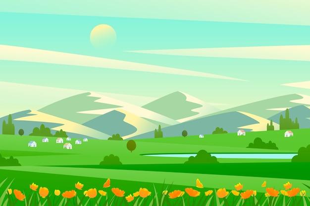 Flat design spring design for landscape Free Vector