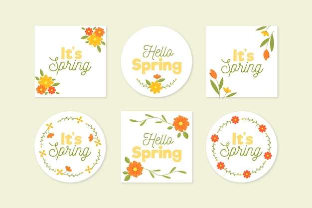 Flat design spring label collection Free Vector