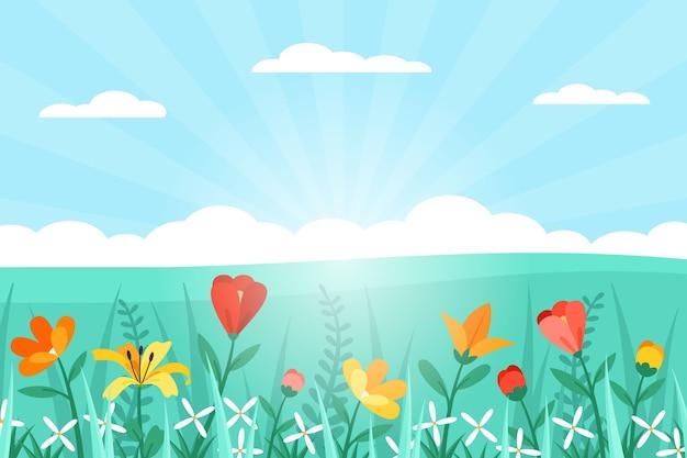 フラットなデザインの春の風景 無料ベクター
