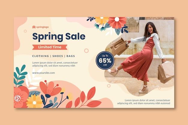 Modello di banner primavera e modello design piatto Vettore gratuito