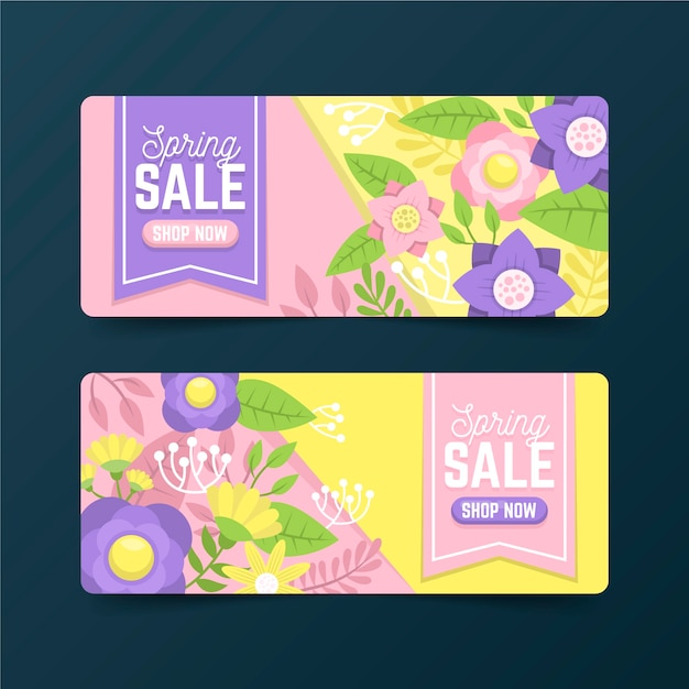 Flat design spring sale banner collection concept Free Vector